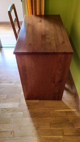 Conjunto de secretaria e cadeira de madeira maciça