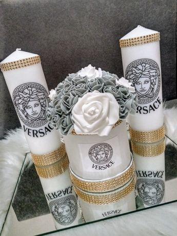 Flower box versace Chanel cyrkonie róże piankowe