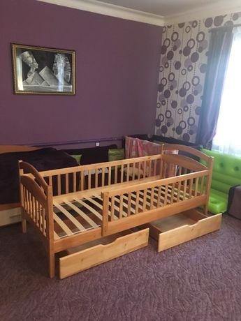 Детская кровать, из натурального дерева, большие ящики, купить кровать