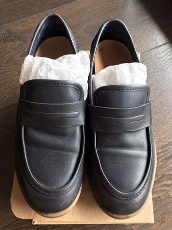Buty skórzane Zara mokasyny chłopięce 34 granat idealne na komunie