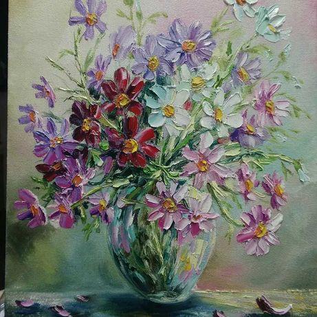 Картина *Цветы космеи*,45*35.