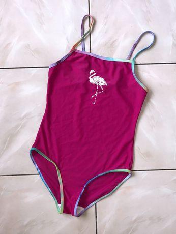 Малиновый сдельный купальник с Фламинго для девочки-подростка р.158