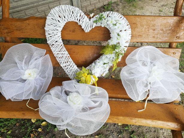Dekoracje ślubne 10szt + duże serce wiklinowe