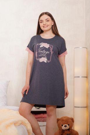 Туника ночнушка летнее платье домашняя одежда батал хлопок Турция