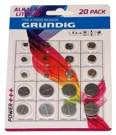 Baterie alkaliczne Grundig 3V i inne zestaw 20 sztuk