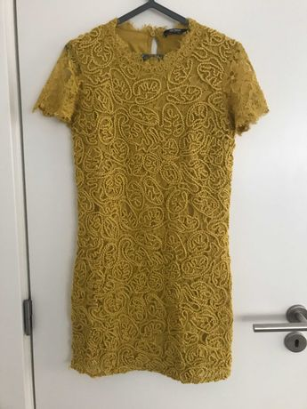 Vestido Renda Amarelo   Zara   S