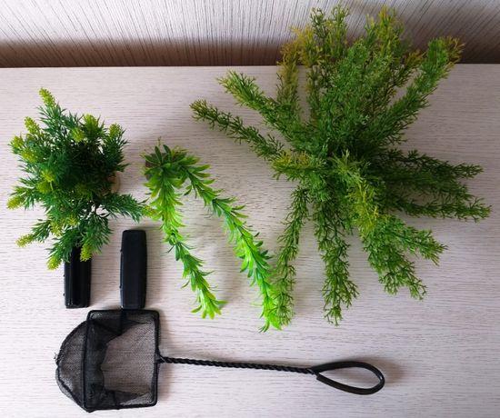 zestaw do akwarium - podbierak roślinki skrobak algostop