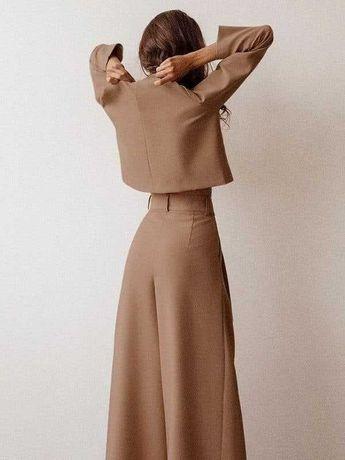 Костюм 2-ка в цвете мокко, oversize с широкими штанами