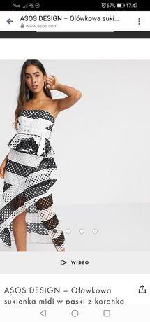Długa sukienka czarno biała pasy kropki