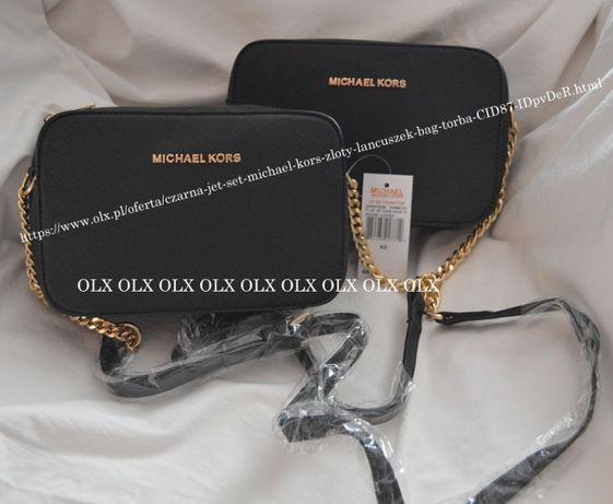 Czarna jet set mini mała Michael kors złoty łańcuszek
