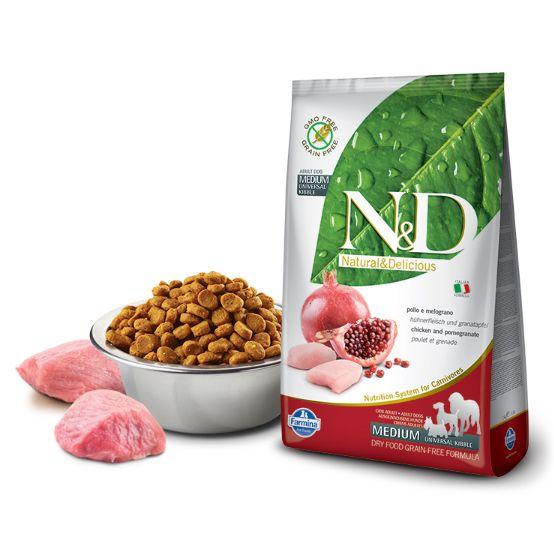 Farmina N&D (Grain Free) Adulto Medium-Maxi - Frango e Romã