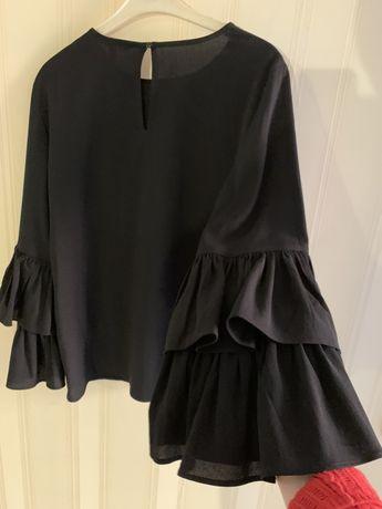 Чёрная блузка шифоновая шифон кружево клеш