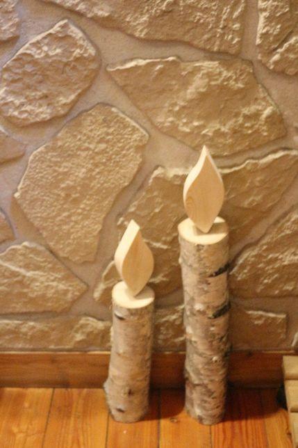 świeca,świecznik dekoracyjny z naturalnego drewna brzoza handmade