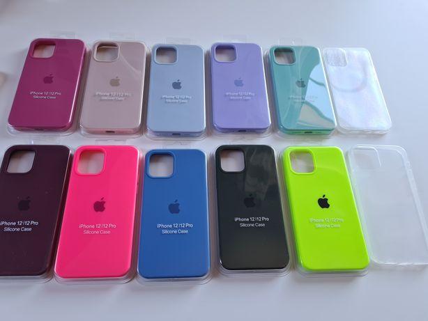 Etui case do iphone 12 12pro silikonowe przezroczyste z jabłkiem