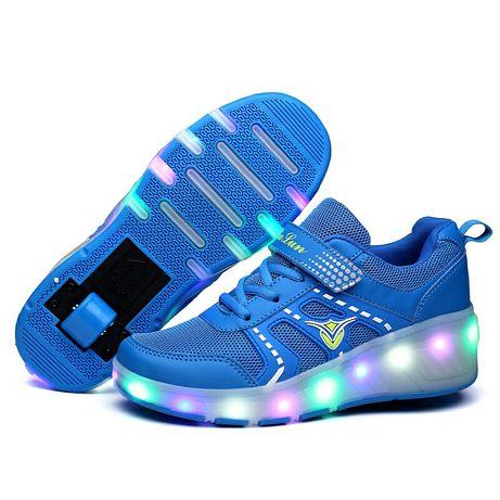 Скидка! Светящиеся роликовые кроссовки Heelys хилисы голубые ролики