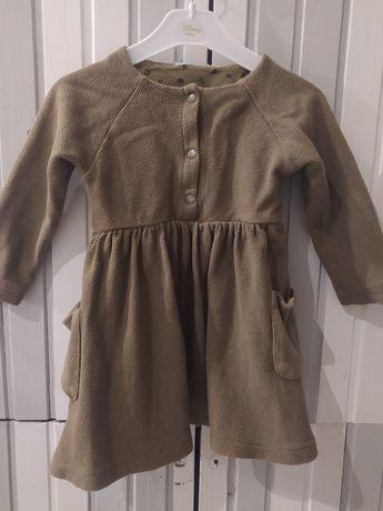 sukienka sukieneczka zielona z kieszonkami i długim rękawem rozmiar 92