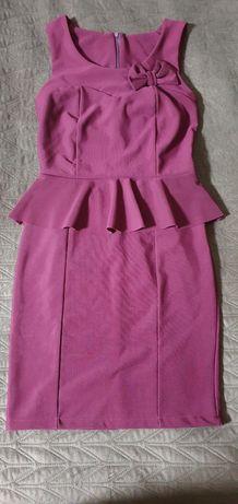 Сукня бордо з рюшом