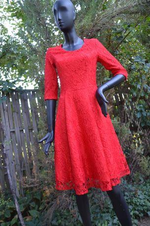 Шикарное ярко-красное гипюровое платье премиум качества