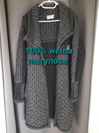 Kardigan, sweter 100% wełna merynosa, rozm. S