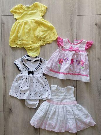 Cztery sukieneczki 56-62 h&m