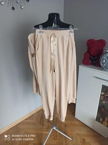 Dres welurowy beżowo złoty La Blanche M 38 spodnie bluza