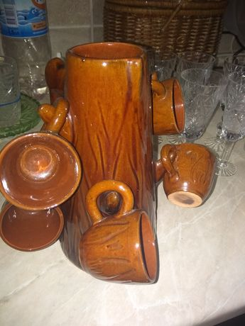 Кофейный сервиз чашки +кофейник глиняные Дубок