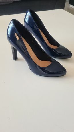 Granatowe szpilki pantofle sergio Leone roz 37