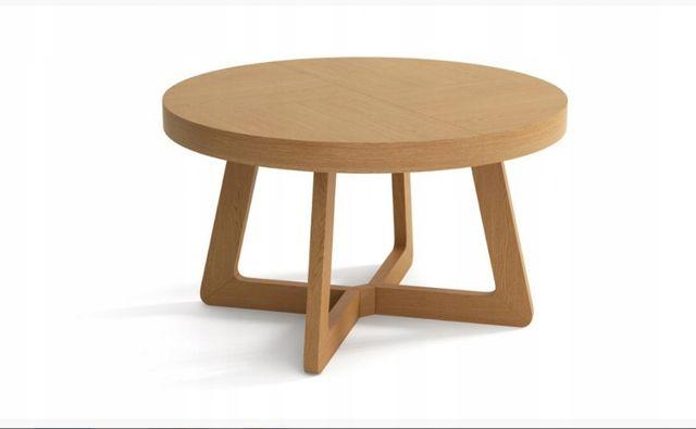 Stół dębowy okrąły - industrialny LOFT-9, noga dębowa kolory krzesła.