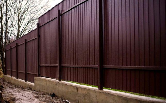 Забор из профнастила, монтаж забора деревянного сетка рабица.