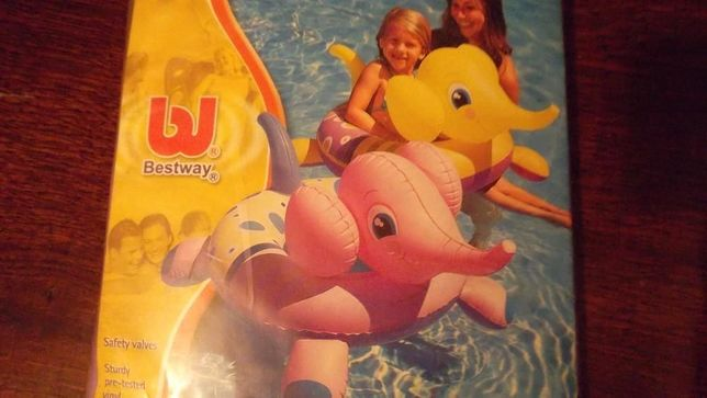 """Круг надувной для плавания """"Слоненок""""- розовый и желтый"""