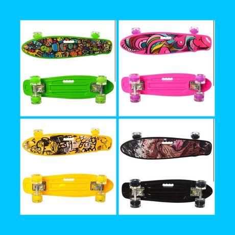 Скейт Пенни борд Skate со светящимися колесами-ВСЕ ЦВЕТА