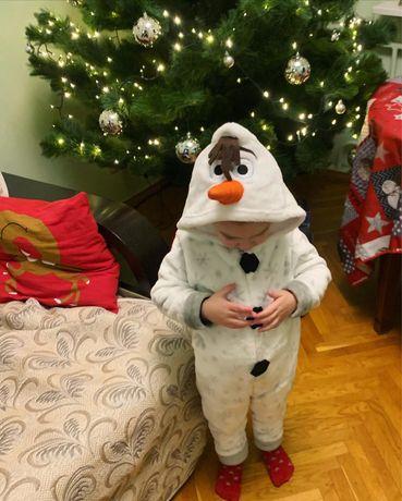 Костюм пижама кигуруми человечек снеговик 98-104