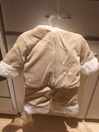 62 beżowy NOWY komplet kurteczka i spodnie