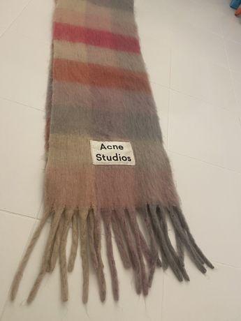 Acne Studios, обьемный шарф, кашемир, крупная клетка, розовый- беж