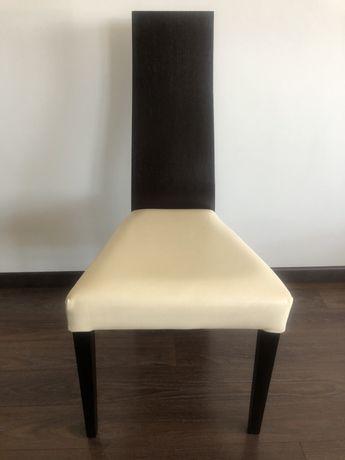 6 cadeiras de sala em Wengue com acento em pele branca