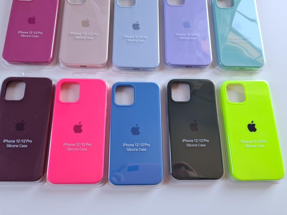 Etui case obudowa pokrowiec na iphone 12 12pro silikonowe z jabłkiem