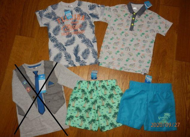Ubrania dla chłopca rozm. 98-104 NOWE spodnie, body, bluzki