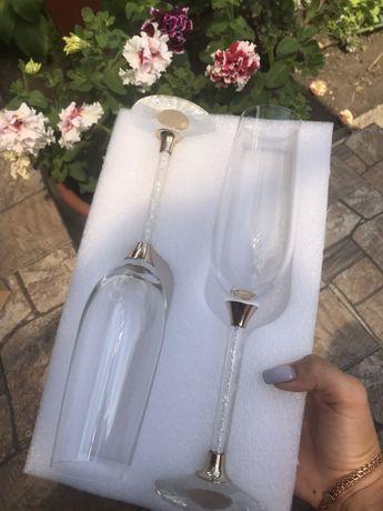 Свадебные бокалы, весільні келихи кришталь, з браком