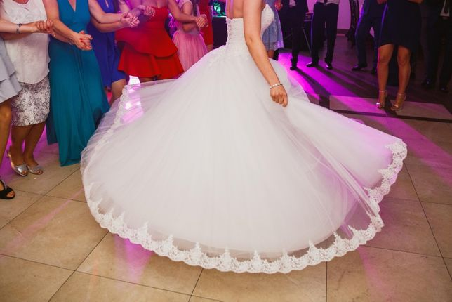 Suknia ślubna princessa biała 169cm + 6cm obcas gorset