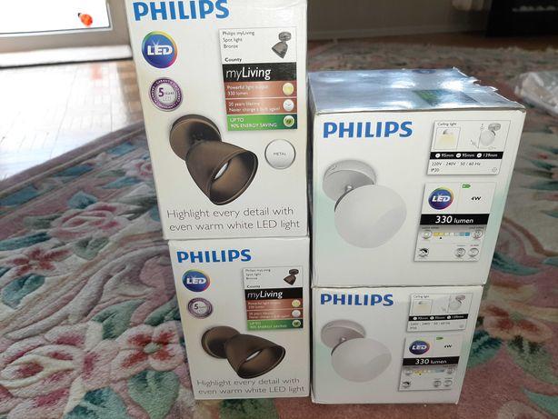 Philips myLiving Spot light 2x brązowe,  2x białe.
