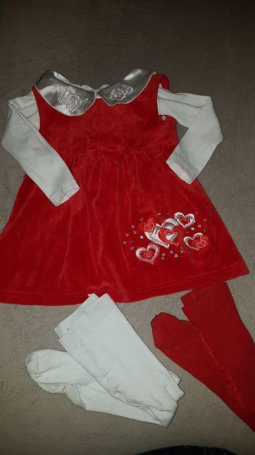 Śliczna sukienka na roczek lub sukienka świąteczna 86 2 szt rajstopy