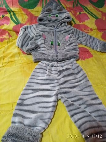 Детский теплый костюм Серый котик