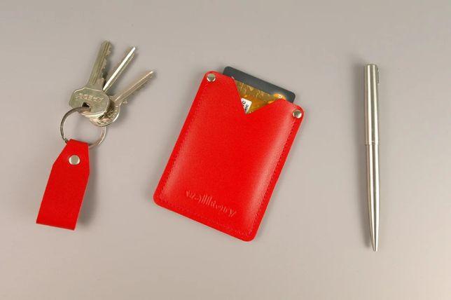 Набор красная кожаная визитница/кардхолдер для карт и визиток + брелок