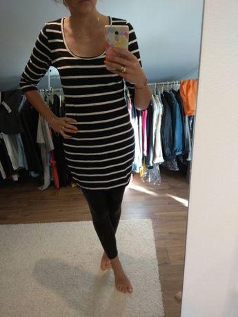 Tunika sukienka mini paski styl marynarski czarny biały r. L