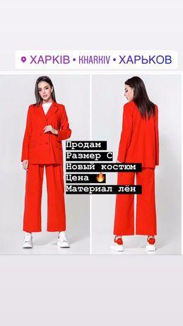 Костюм красный. Костюм из льна.модный костюм