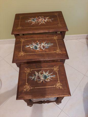 Mesa madeira pintada mão encaixe encastrar apoio