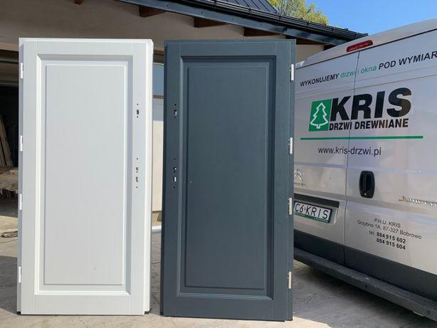 Drzwi zewnętrzne drewniane ocieplane białe , grubość 7,5cm KRIS