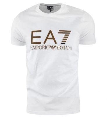 EA7 Emporio Armani Koszulka T-Shirt Biały + Złoto / XL Poznań - image 1