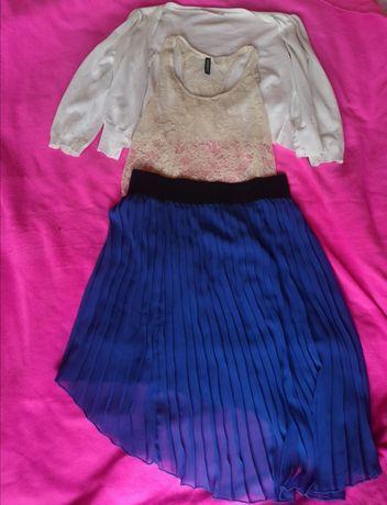 Zestaw spódnica plisowana top siateczkowy bolerko