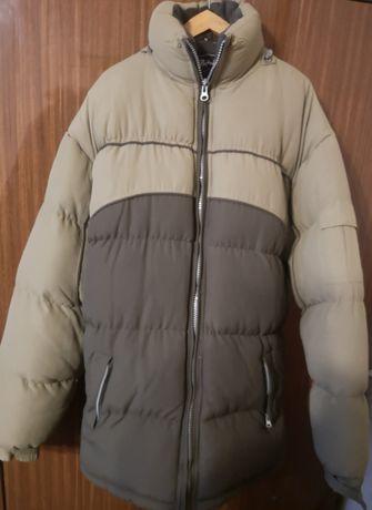 Gruba dłuższa kurtka zimowa męska bez kaptura